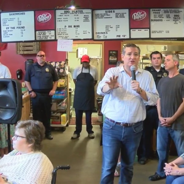 Ted Cruz talks to voters in Jefferson, Tx