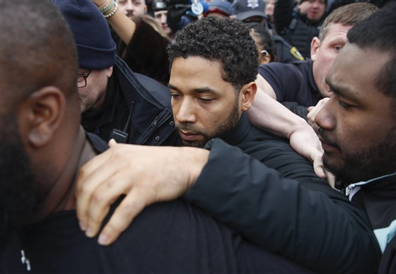 Jussie Smollett leaves Cook County jail following release Chicago Feb 21 2019 Kamil Krzaczynski AP file_1552085532665.jpg.jpg