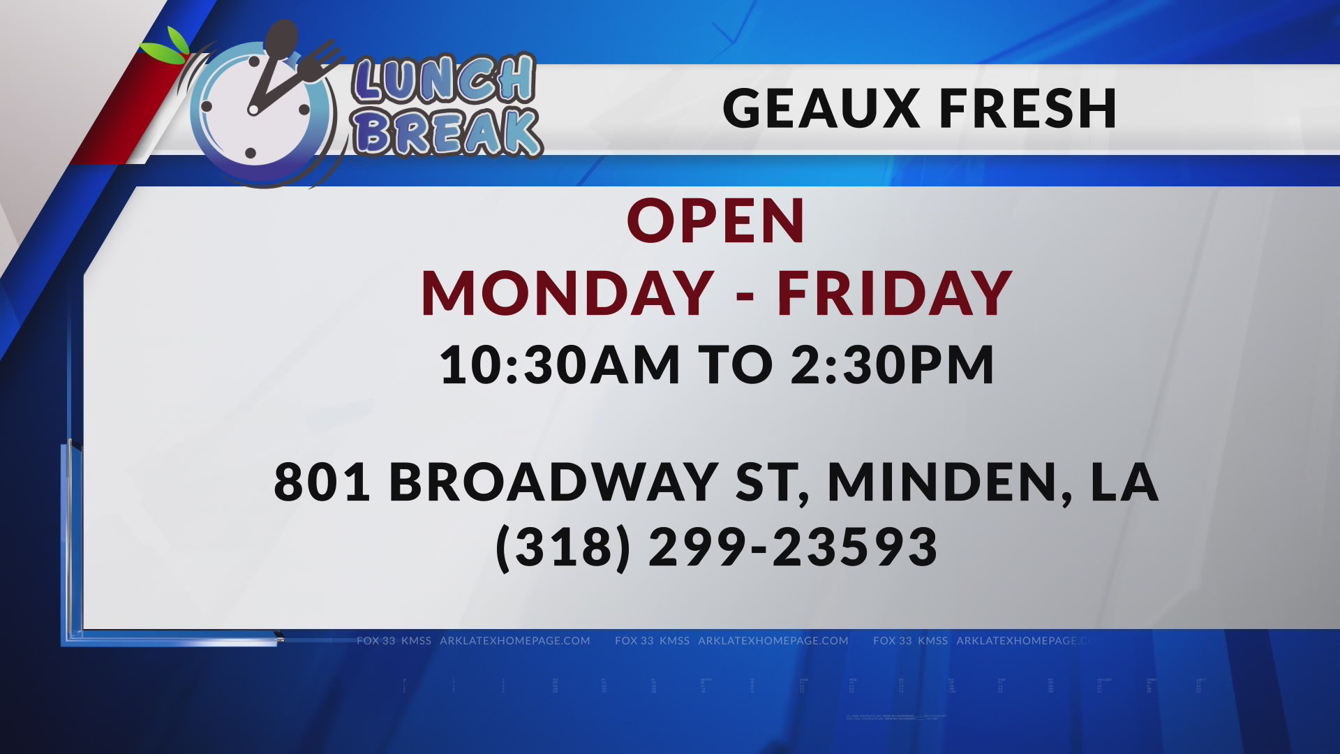FOX 33 Lunch Break: Geaux Fresh | ArkLaTexHomepage