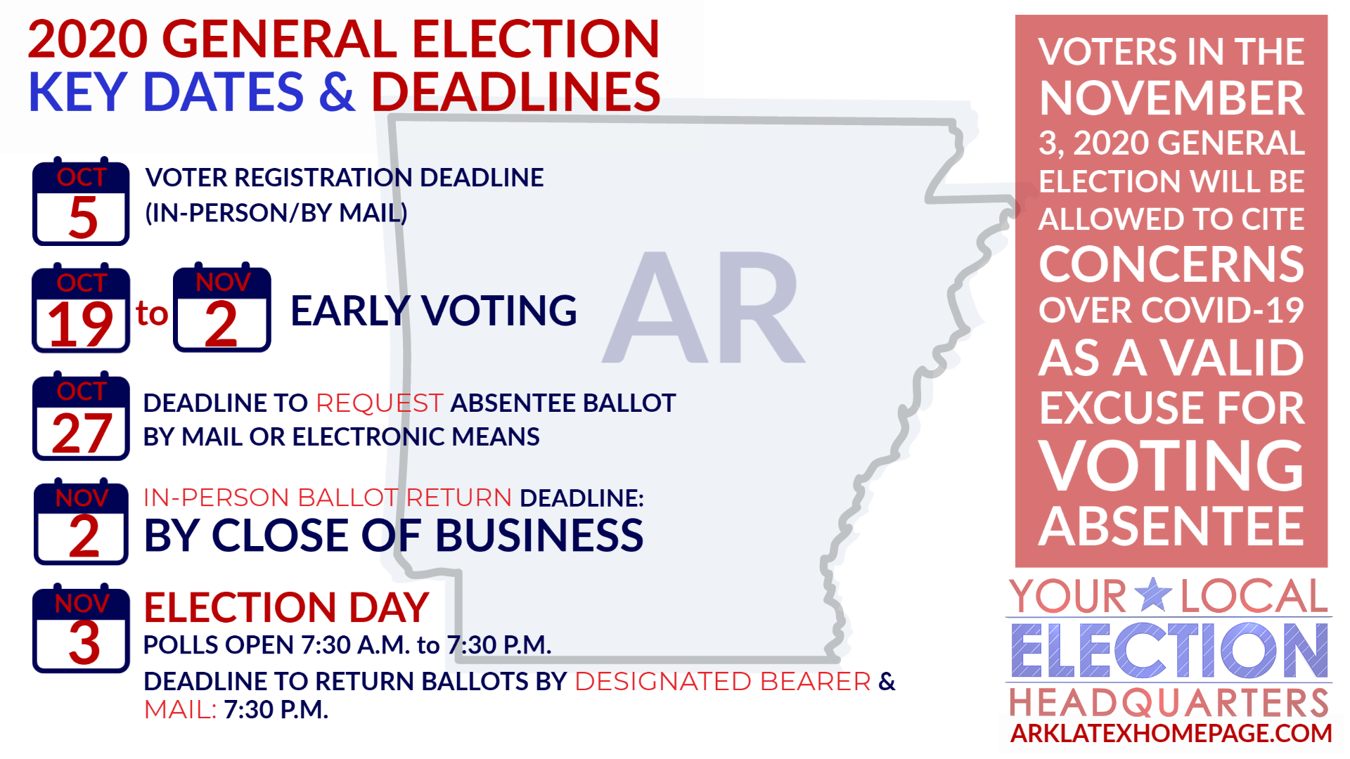 Arkansas 2021 Election Calendar Election 2020: Key dates, deadlines, what's on the ballot for